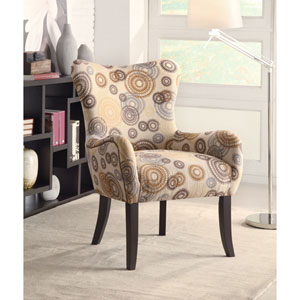 Beige Circle Print Accent Chair with Nailhead Trimming