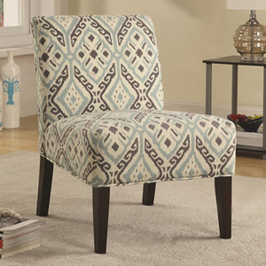 Blue and Gray Patterned Accent Chair
