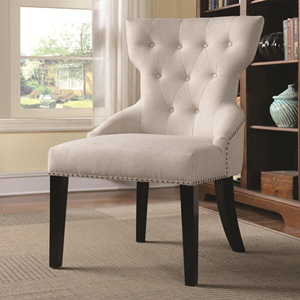 Tufted with Silver Nailhead Trim Beige Accent Chair