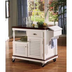 White Cherry Topped Kitchen Cart