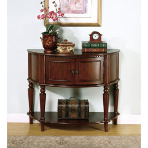 Brown Entry Table with Curved Front and Inlay Shelf
