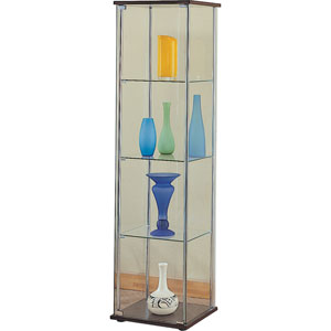 Four Shelf Glass Curio Cabinet with Cappuccino Top and Bottom