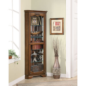 Cherry Five Shelf Corner Curio with One Door and Acanthus Leaf Top