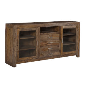 Brown Four-Drawer Two-Door Tv Stand Cabinet