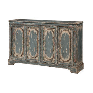 Distressed Blue And Cream 40-Inch Four-Door Tv Stand Cabinet