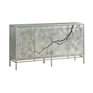 Silver 39-Inch Four-Door Tv Stand Cabinet