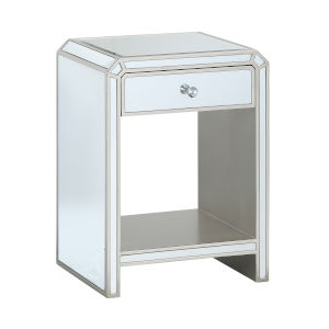 Chairside Mirrored Single Drawer End Table