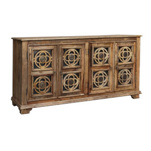 Brown 71-Inch Four-Door Tv Stand Cabinet