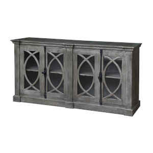 Gray 71-Inch Four-Door Tv Stand Cabinet