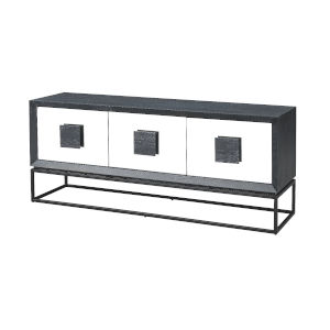 Charcoal and Stainless Steel 67-Inch Media Credenza