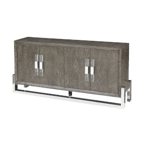 Taupe Grey and Stainless Steel 67-Inch Media Credenza