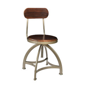 Honey Brown and Antique Silver 37-Inch Barstool