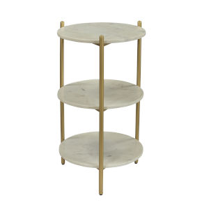 White and Gold 16-Inch Accent Table