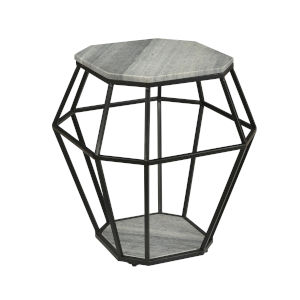Whispy Grey and Black 21-Inch Accent Table