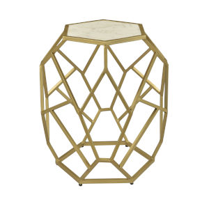 White Marble and Gold Powder Coat 20-Inch Accent Table
