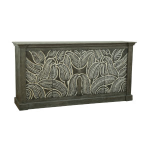 Grey Sandblast and White Carved 71-Inch Media Credenza