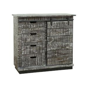 White Sliding-Door Four-Drawer Cabinet