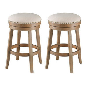 Toffee Brown Oatmeal Fabric Counter Stool, Set of Two