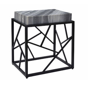 Shades of Grey Marble Black Accent Table