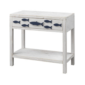 Schools Out White and Blue One-Drawer Accent Table
