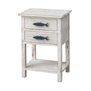 Schools Out White and Blue Two-Drawer Accent Table