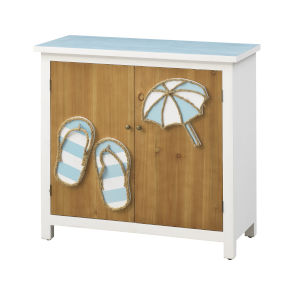 Beach Fun Brown Blue and White Cabinet