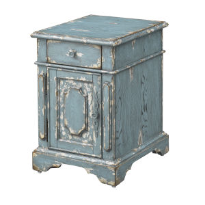 Cabot Aged Blue Cream Chairside Table