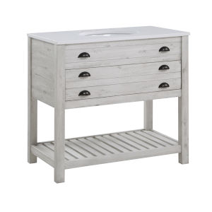 Gracie White Rub One-Drawer Rectangle Vanity