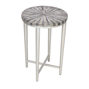 Grey Bone Antique Silver Finish Accent Table