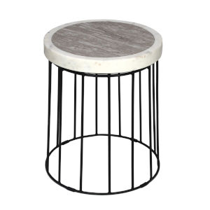 Sand Brown Stone Black Powder Coat Finish Accent Table
