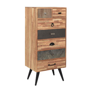 Mixed Media Natural Finish Seven-Drawer Cabinet