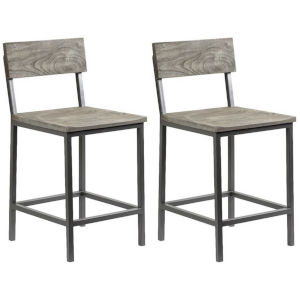 Yukon Sandblast Grey Gunmetal Finish Barstool, Set of Two