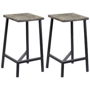 Yukon Sandblast Grey Gunmetal Finish Backless Barstool, Set of Two
