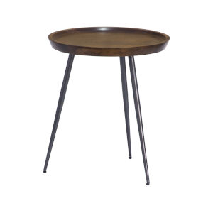 English Brown Gunmetal Finish Accent Table
