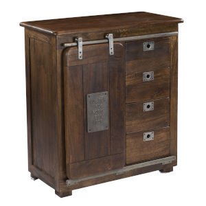 Brown Cabinet With Four Drawer And Single Door