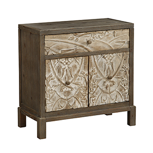Natural One Drawer Two Door Cabinet
