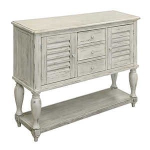 White Three Drawer Two Door Console