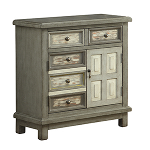 Grey Two Drawer Two Door Cabinet