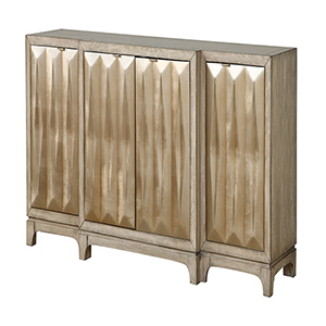 White and Gold Four Door Credenza
