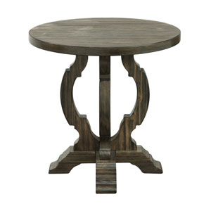 Orchard Park Round Accent Table in Brown