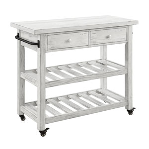 Orchard Park Two Drawer Kitchen Cart in White