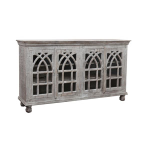 Four Door Cathedral White Wash Media Credenza