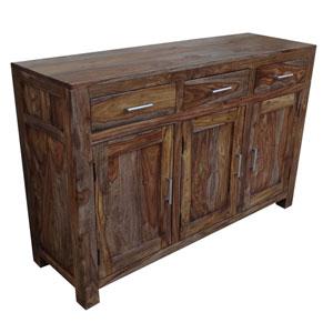 Three Door, Three Drawer Brownstone Nut Brown Sideboard