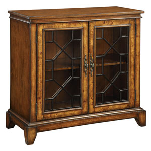 Cresthill Brown Two-Door Cabinet with Glass Inset Doors