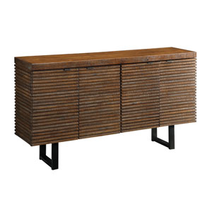 DeWitt Rustic Brown Credenza with Routed Design and Contrasting Metal Legs