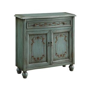 Dearington Teal Accent Cabinet with Hand-Painted Gold Details