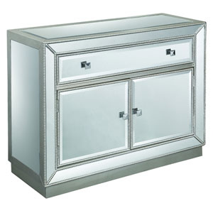 Coast to Coast Accents Mirrored 1-Drawer Two Door Cabinet