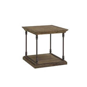 Hylas Medium Brown Reclaimed Wood and Iron End Table
