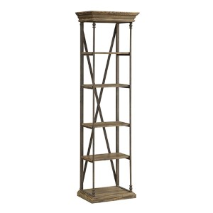 Hylas Medium Brown Reclaimed Wood and Iron Etagere