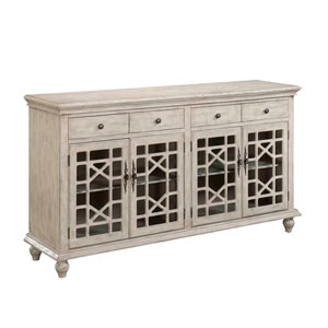 Ivory Four Drawer Media Credenza